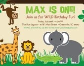 Printable Jungle Safari Birthday Invitation, Animals, Lion, Monkey, Elephant, Alligator, Giraffe, Boy or Girl DIY digital file