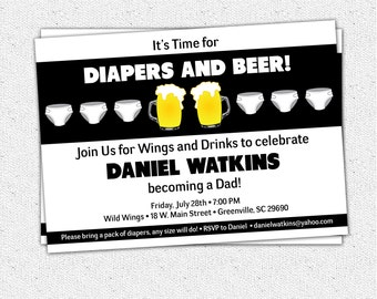 Chuggies, Beer and Diaper Party Invitation, Babies, for Men, Dad's Baby Shower, DIY Digital file