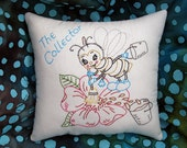 SPRING Bee Embroidery Pillow, Happy, Retro Honey Bee, Bee Keeper Decor, Bee Collector, Vintage Design, Gardener Flowers Decoration, HAFAIR