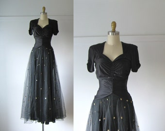 vintage 1940s evening dress / 40s dress / Wish Upon a Star