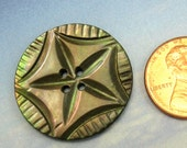 Mother of Pearl Button Antique Black Pearl Carved 232