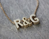 Two Initials with Ampersand Gold necklace - 14k Gold Filled - Choose Your Length and Letters