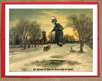 Monster, Christmas Cards, Bad or Good, Christmas Scene, Godzilla, Funny Christmas Card, Alternate Histories, Geekery, Vintage, Santa Claus