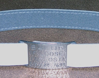Leather Custom Tag Collar for Greyhounds - Ice Blue