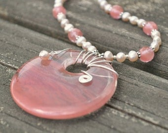 """Medallion Necklace: Cherry Blossoms - Cherry Quartz and Pink Freshwater Pearl 15 1/2"""" / juniors necklace / short length"""