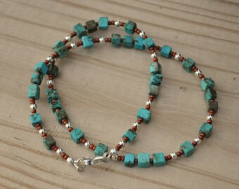 Choker / Bracelet: Turquoise, Sterling Silver and Copper Glass / Rustic / Simple / Southwestern / Layering