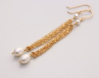 AAA Freshwater Pearl Earrings, 14k Gold Filled, Gold Chain Earrings, Long Dangle Earrings, June Birthstone