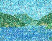 Pointillism Oil Pastel Landscape