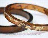 Resin Bangle Set Gold Leaf in Brown