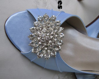 Wedding Shoes Blue Bridal Shoes Crystal Bling Brooch -100 Additional Colors To Pick From