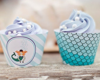 Mermaid Party Cupcake Wrappers - Printable