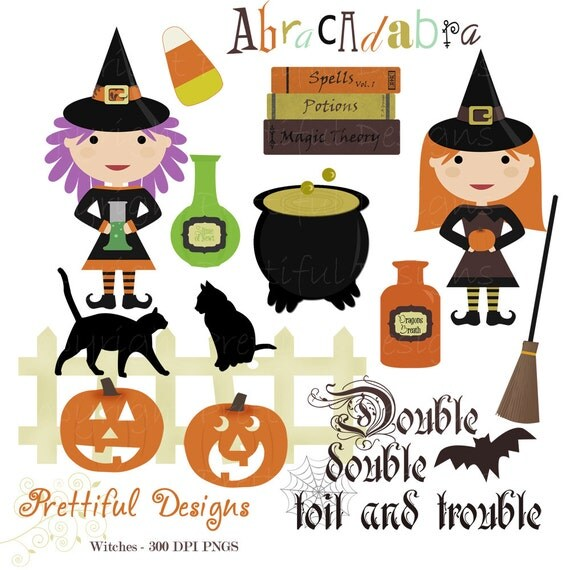 40% Off SALE Halloween Witch Clip Art for Personal or Commercial Use - Spooks On (754)