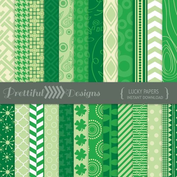 30% OFF SALE St Patricks Day Digital Paper Pack for Personal or Commercial Use - Lucky (809)