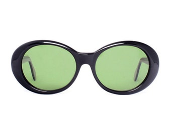 oval black vintage sunglasses  - round sunglasses for women - 80s new deadstock sun glasses - black frame with green lenses