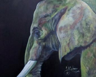 "Elephant wildlife animal original art oil painting on 8"" x 10"" canvas by Sandra Cutrer Fine Art"