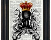 BOGO 1/2 off OCTOPUS Print Octopus with Crown Print Dictionary Art Print Octopus Art Print Upcycled Dictionary Print  HHP Original
