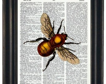 BOGO SALE Bee Upcycled Dictionary Art Golden Bee Print on Vintage Dictionary Page 8 x 10
