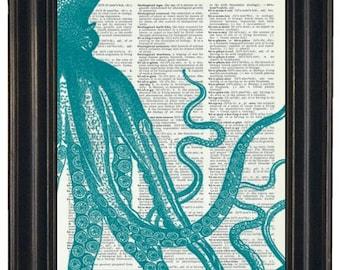 BOGO 1/2 OFF Sale Steampunk Teal Octopus Print  Dictionary Book Art Page Print Dictionary Art Print  Picture Wall Decor