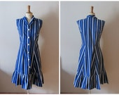 vintage 1970s blue and white OCEAN BREEZE dress / 70s striped dress