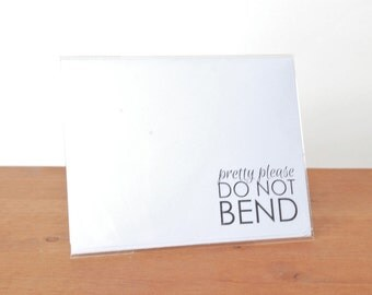 white writing paper set of five: do not bend