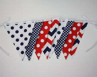 Bunting Flag, Red White and Blue, Chevron, Polka Dots, Photo Prop, Wedding, Celebration Flag, Cake Smash, Birthday Party, Pennant Flag