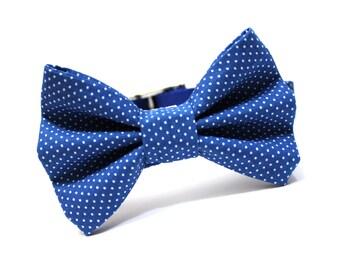Bow Tie Dog Collar, Dog Bowtie- Royal Blue Pin Dots