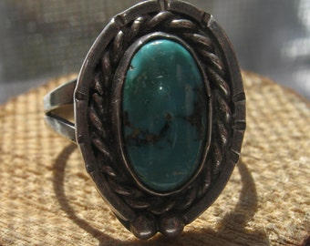 Old Pawn Vintage Coin or Sterling Silver Ladies Authentic Southwestern Navajo Ring with Turquoise Size 7 1/2