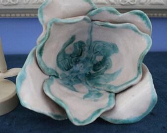 Glazed Pottery Open Flower Candle Holder