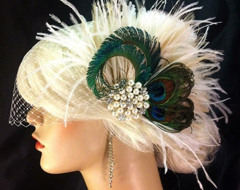 Fascinator, Rhinestone Pearl Bridal Feather Fascinator, Bridal Headpiece, Wedding Veil, Old Hollywood, Ivory, Champagne and Natural Peacock