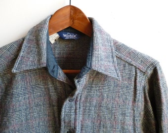 Vintage Woolrich Glen Plaid Wool Shirt Mens S/M