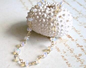 Ethiopian Opal Bracelet, Welo Opal, Gold Filled Opal Bracelet, Wire Wrapped, Minimalist Bracelet