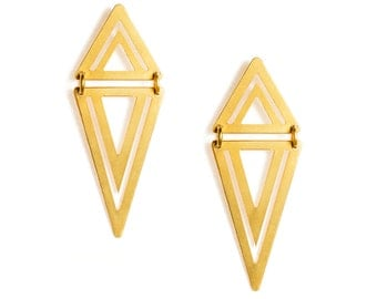 QUITO//RIO - Double mobile triangles Gold-coated brass earrings OTAVALO (FBO11)