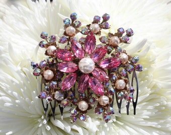 fuchsia bright pink pearl vintage swarovski crystal rhinestone bridal hair comb vintage inspired flower floral wedding hair combs headpiece