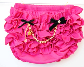 Little Rock Star Hot Pink Bloomers posh with gold Chain and SWAROVSKI crystal heart  Baby Bloomers With Cute Ruffle
