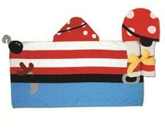 SHIPS NEXT DAY--Personalized Monogrammed --Stephen Joseph Kid Bath Beach Pirate Hooded Towel--Free Monogramming--