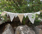 Special Order Victorian Ivory Lace And Burlap Fabric Buntings 2 Each 9 Feet Long