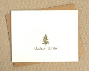 Personalized Modern Stationery / Pine Tree Blank Folded Cards with Name / Nature Themed Thank You Notes