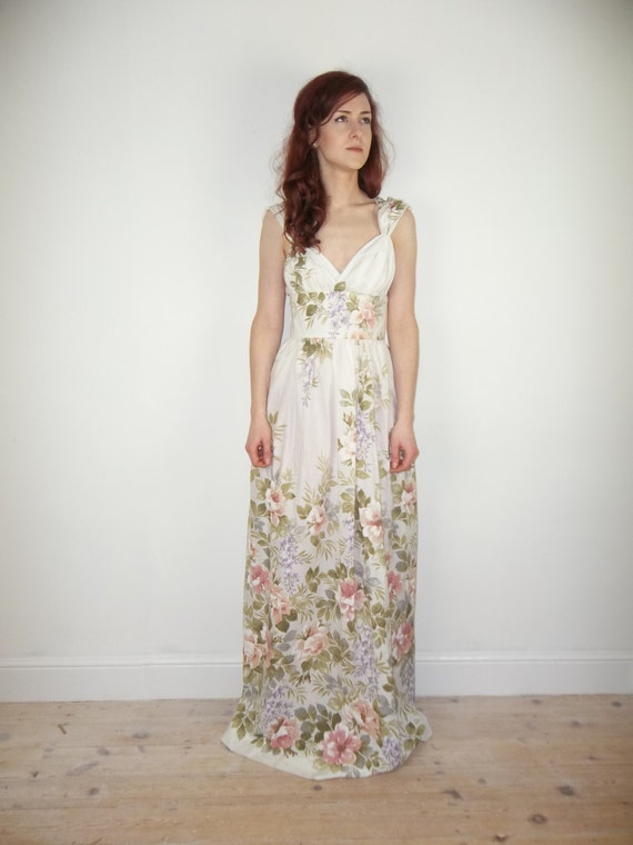 Items similar to sample sale romantic floral grecian maxi for Floral beach wedding dresses