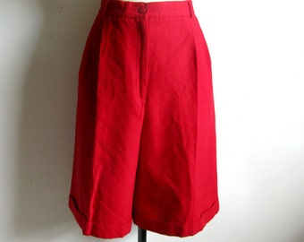 Vintage Red Wool Shorts 1980s Talbots Red Dress Wool Short Pants 14