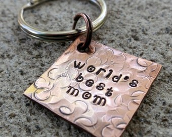"World's Best Mom - Textured Hand Stamped 3/4"" Square keychain"