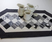 Black and White Contemporary Quilted Table Runner Shades of Black by Moda