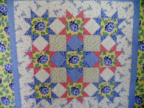 Cottage Chic Lap Quilt Quilted Wall Hanging Pastel Stars Flowers Hydrangeas
