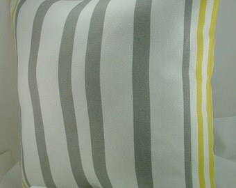 Designer  Pillow Cover, 18 inch, yellow and grey  on white