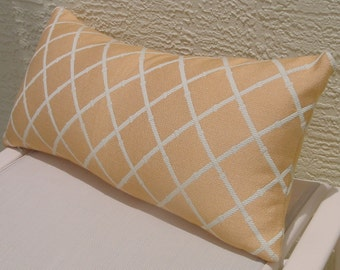 Bolster Accent Pillow, High-End Decorator  Fabric, Apricot, Off White Lattice Design, 12 x 26 inches