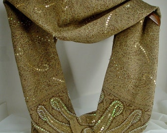 Paisley Scarf with Glitz, Brown and Tan, Wool and Rayon Blend