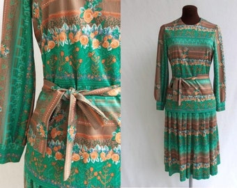 Vintage 60s Dress Two Piece Blouse and Skirt Polyester Floral Print Matching Head Scarf Size M / Medium
