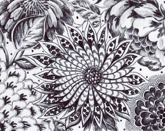 "Black Pen and Ink Wall Decor - Original Drawing - Small Art - Abstract Modern Black White Wall Art - "" Black Magic Garden"" - 5x7"" Floral"