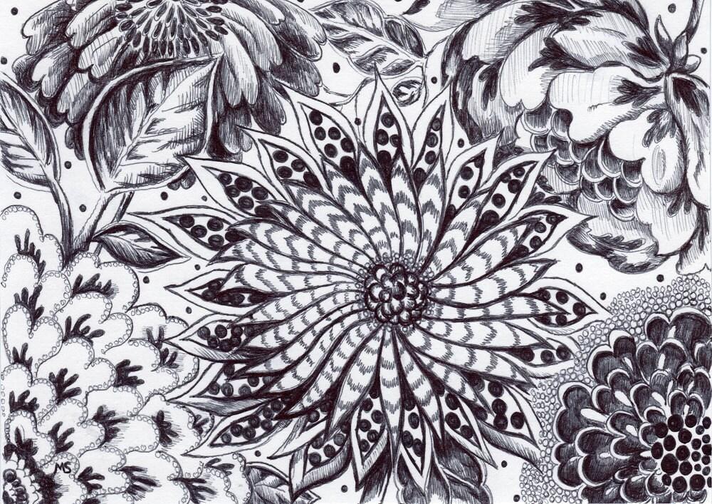 Top Encre et stylo noir Wall Decor dessin Original petite Art TW62
