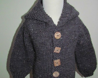 Child's Hand Knit Grey Sweater, Child's Grey Sweater With Hood, Gray Sweater With 4 Wooden Buttons, Gray School Sweater, Gray Fall Sweater