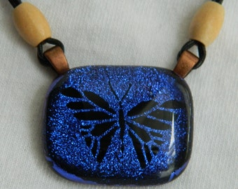 Fused Glass Butterfly Dichroic Pendant Sapphire to Purple Necklace